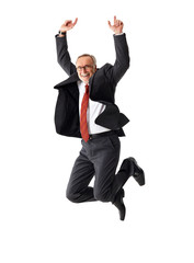 Business senior man jumping, on isolated background