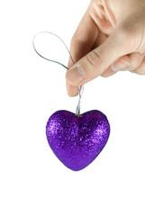 cuoricino viola brillantinato
