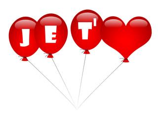 JE T'AIME en Ballons de Baudruche (carte amour saint valentin)
