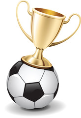soccer gold trophy cup on top of football ball