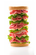 Big tower sandwich isolated on white background.