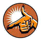 Close-up of hand, pointing like a gun. Popart comic style emblem