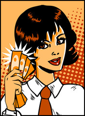 Pop Art Business Woman with money in hand. Vintage Comic Backgro