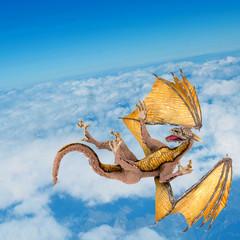 dragon falling on the sky