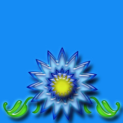 Blue Flower over blue background