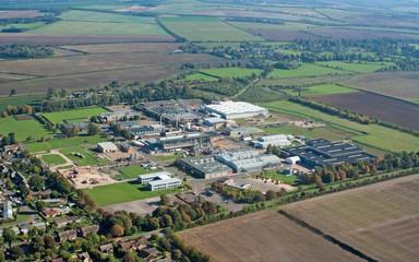 Aerial view of Duxford village industrial zone, UK