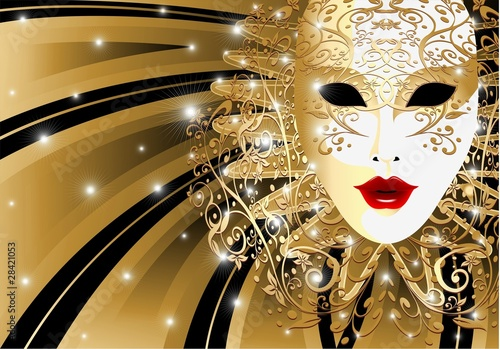 Maschera d'Oro Astratta-Abstract Golden Mask-Vector