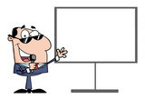 Caucasian Tv Show Host Presenting A Blank Board poster