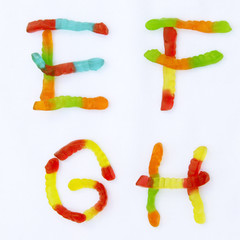 Letters with yummy worm candy