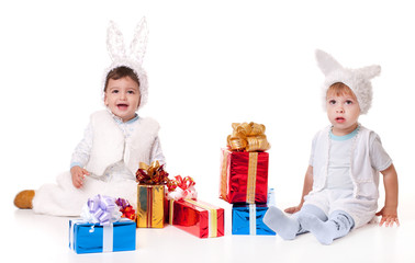 two new year rabbit boy with gifts