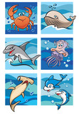 Marine life: sea inhabitants, 6 cartoon pictures, vector poster