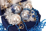 christmas decoration in blue box close-up