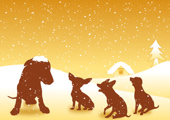 Dogs family on the snowflake background