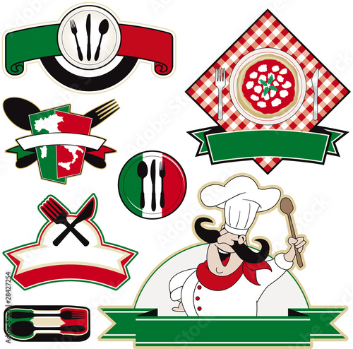italian restaurant vector elements
