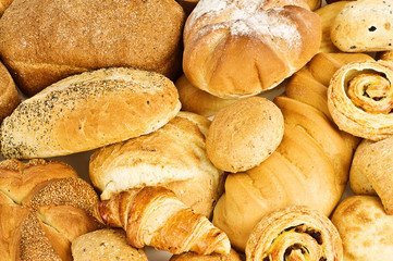 Fresh mixed bread background