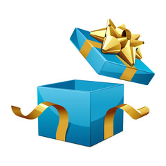 Open empty blue gift with gold bow vector illustration