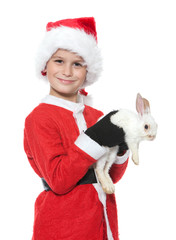 Boy holding a christmas rabbit