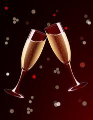 Vector illustration of champagne glasses splashing