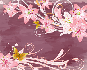 grunge with pink lilies