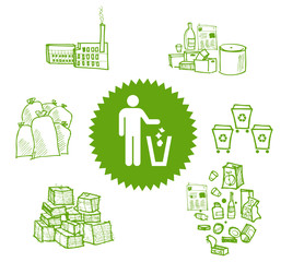 Recycle symbol. Vector illustration of garbage round ecology