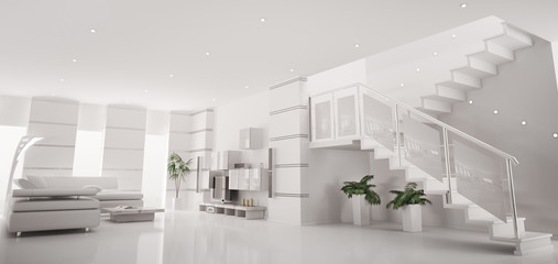Weiss modern apartment mit treppe interior panorama 3d render