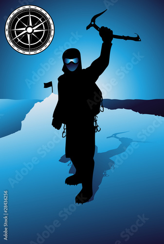 Professional mountain climber vector