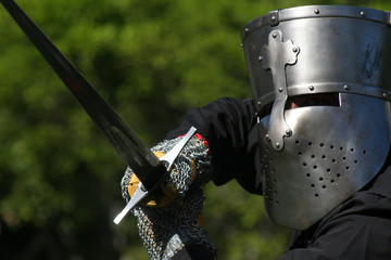 caballero templario en festival medieval