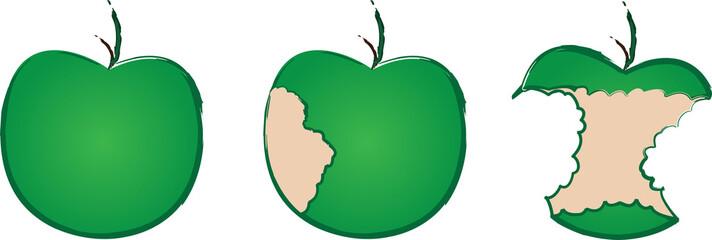 Series of green apple as it is eaten