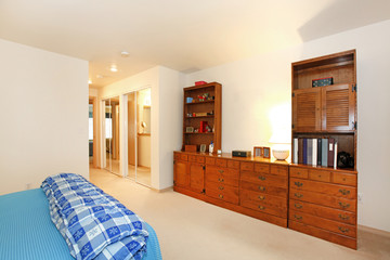 Bedroom with book shelves