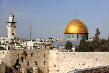 Western Wall (Wailing Wall, Kotel) and Dome of the Rock in Jerus