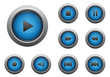 Collection of blue multimedia buttons