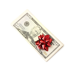 50 Dollar with holidays bow