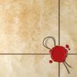 Sigillo di ceralacca su carta antica