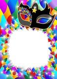 Maschera Arlecchino Sfondo-Harlequin Mask Background-Vector poster