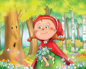Cappuccetto Rosso raccoglie fiori nel bosco