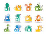 home and house insurance and risk icons poster