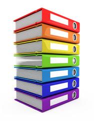 3d color books tower on a white background