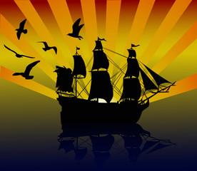 gulls above yacht at sunset