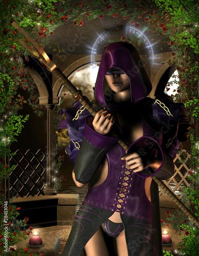 Mystische Zauberin mit Heiligenschein