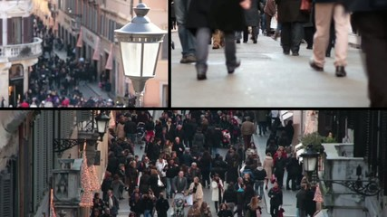 People walking in Rome - Composition