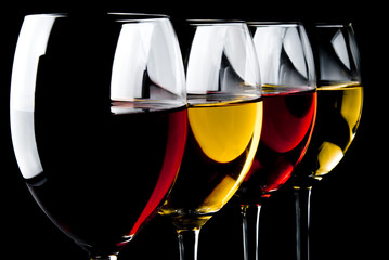 glasses of different wines