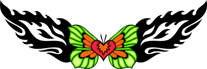Heart with green wings in the centre of a black pattern.