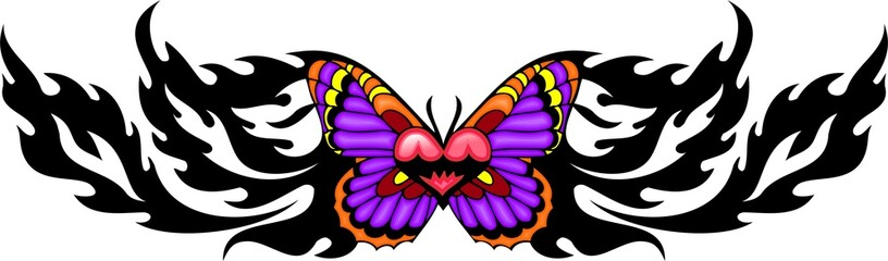 The butterfly with pink wings with red heart in the centre.