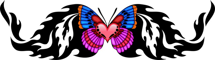The butterfly with pink heart in the centre.