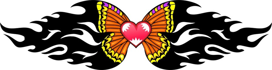 Pink heart with yellow wings .