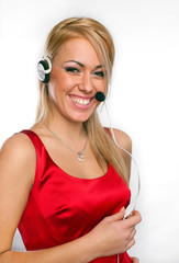 Portrait of happy young woman wearing headphones