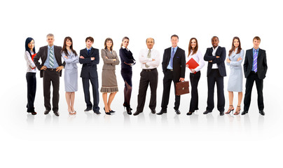 business team formed of young businessmen standing