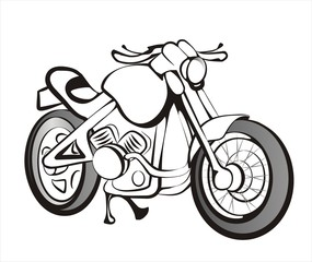 motorcycle sketch in black lines