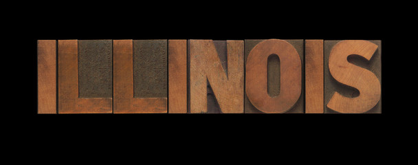 the word Illinois in old letterpress wood type
