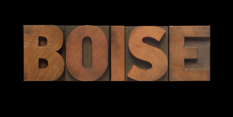 the word Boise in old letterpress wood type